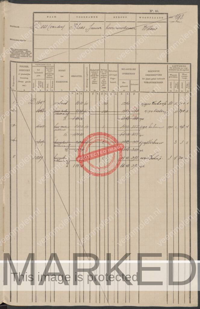 Eigenaar document 1911-1916 Does